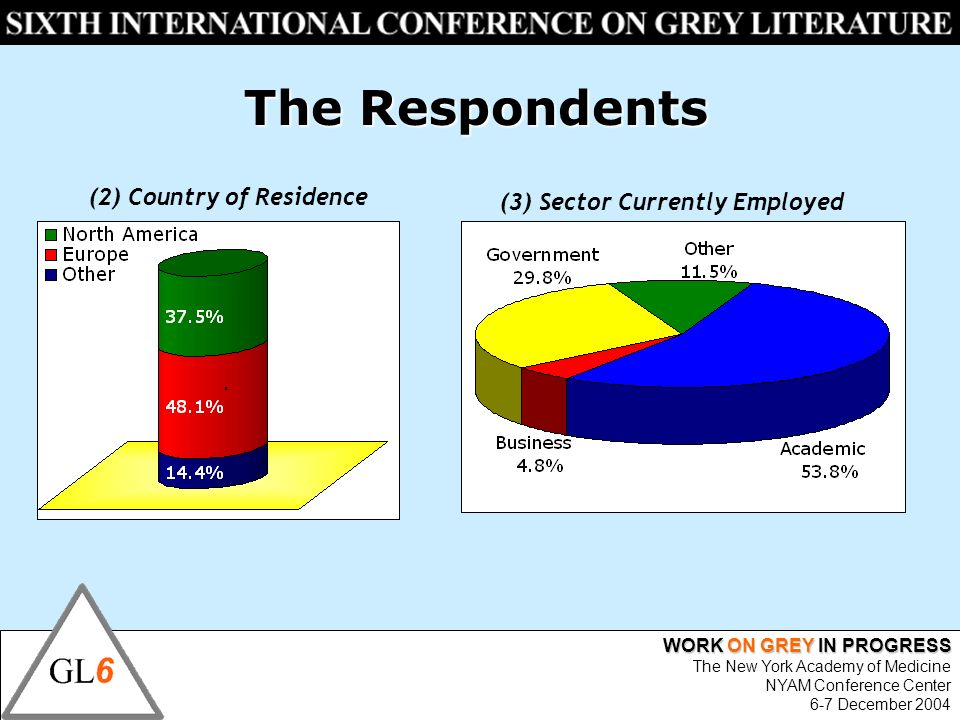 WORK ON GREY IN PROGRESS The New York Academy of Medicine NYAM Conference Center 6-7 December 2004 The Respondents (2) Country of Residence (3) Sector Currently Employed