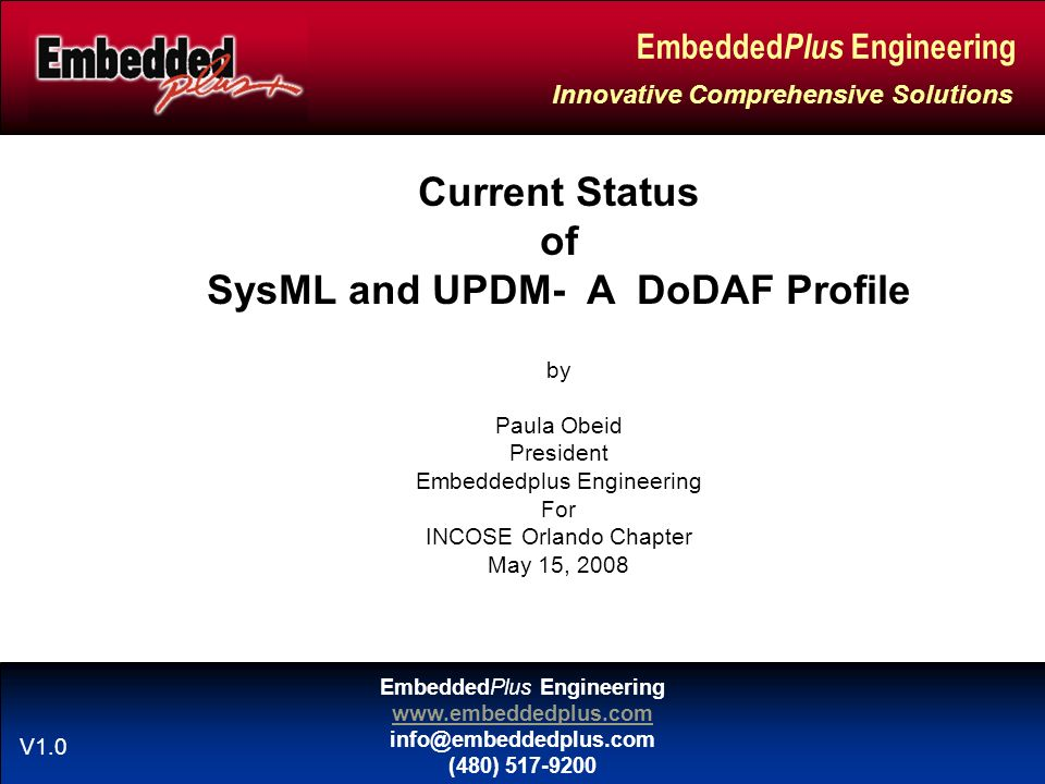 EmbeddedPlus Engineering www.embeddedplus.com info@embeddedplus.com (480) 517-9200 Embedded Plus Engineering Innovative Comprehensive Solutions V1.0 Current Status of SysML and UPDM- A DoDAF Profile by Paula Obeid President Embeddedplus Engineering For INCOSE Orlando Chapter May 15, 2008