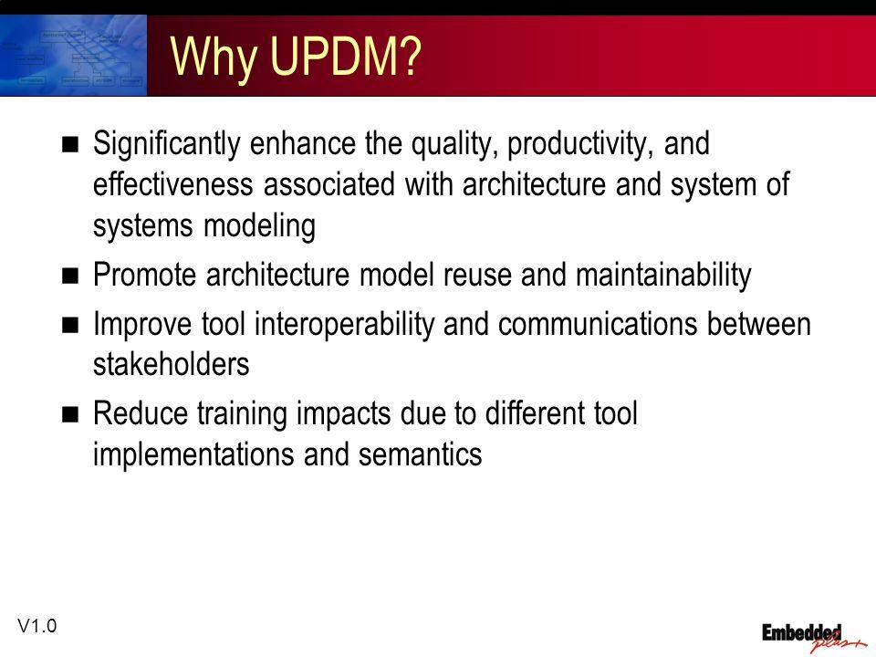 V1.0 Why UPDM.