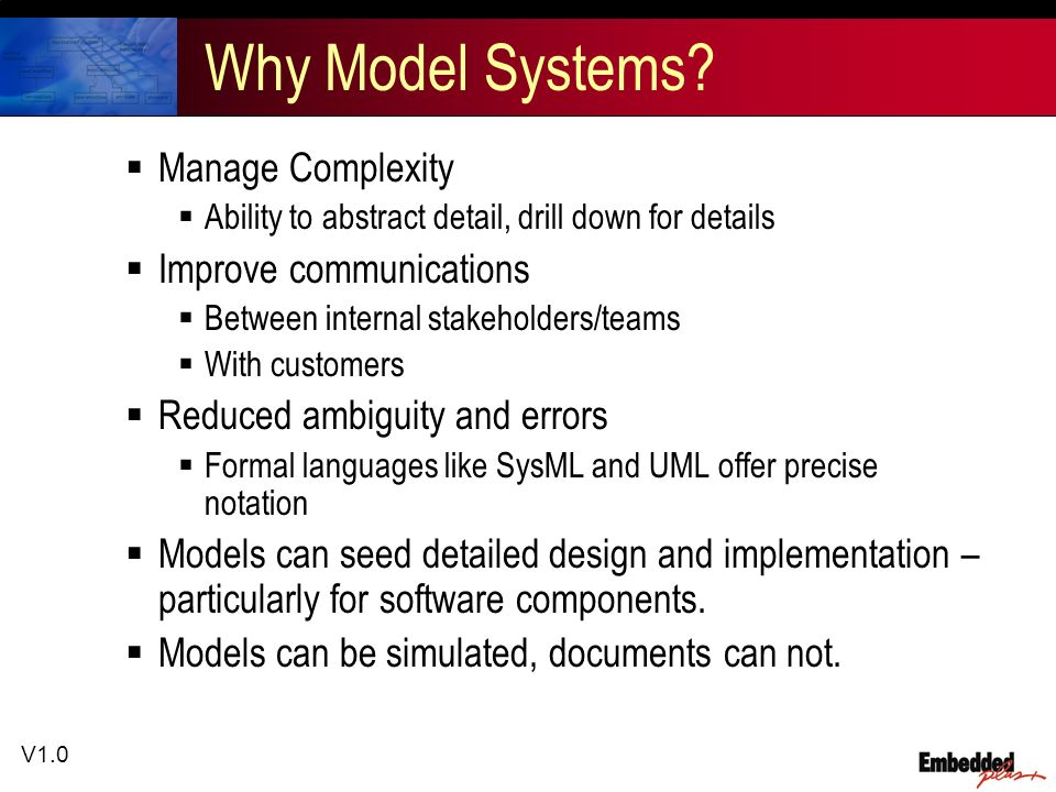 V1.0 Why Model Systems? Manage Complexity Ability to abstract detail, drill down for details Improve communications Between internal stakeholders/team