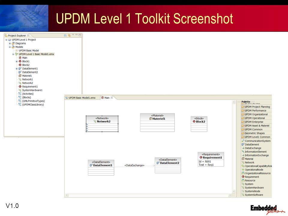 V1.0 UPDM Level 1 Toolkit Screenshot
