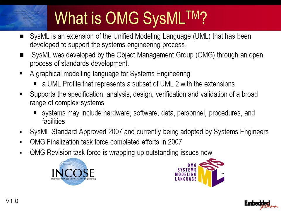 V1.0 What is OMG SysML TM .