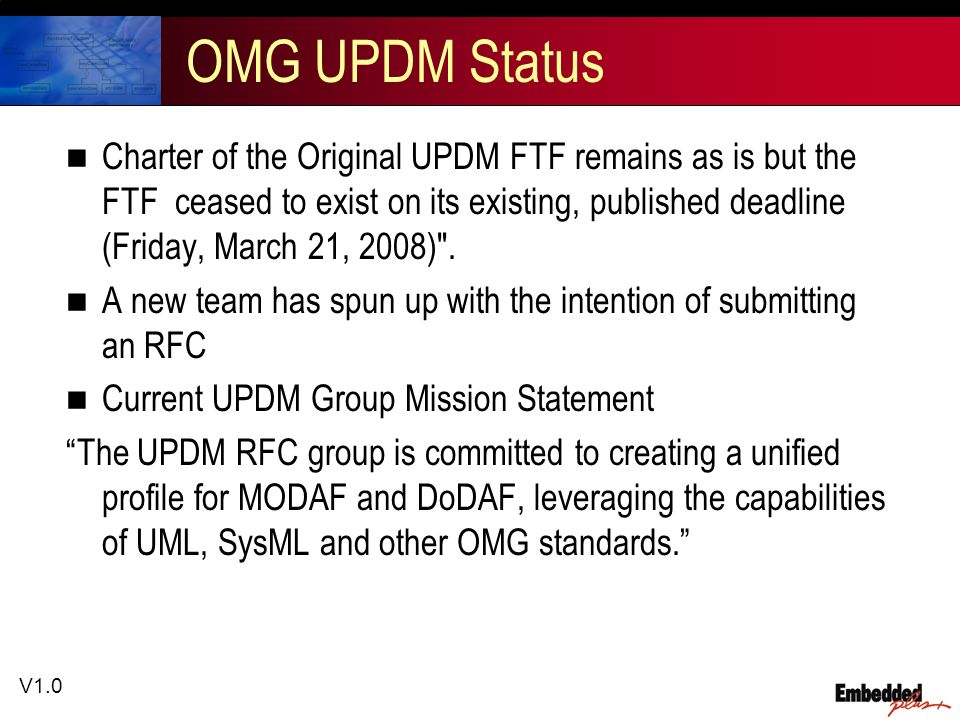 V1.0 OMG UPDM Status Charter of the Original UPDM FTF remains as is but the FTF ceased to exist on its existing, published deadline (Friday, March 21, 2008) .