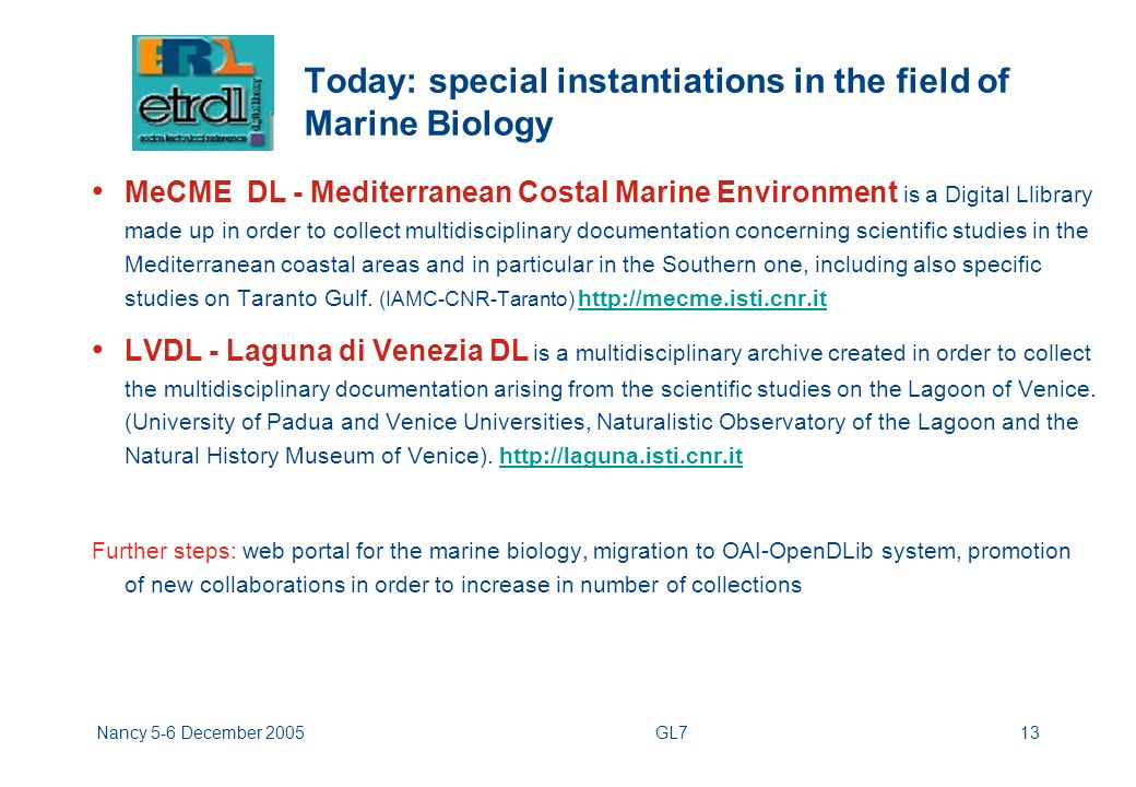 Nancy 5-6 December 2005GL713 Today: special instantiations in the field of Marine Biology MeCME DL - Mediterranean Costal Marine Environment is a Digital Llibrary made up in order to collect multidisciplinary documentation concerning scientific studies in the Mediterranean coastal areas and in particular in the Southern one, including also specific studies on Taranto Gulf.