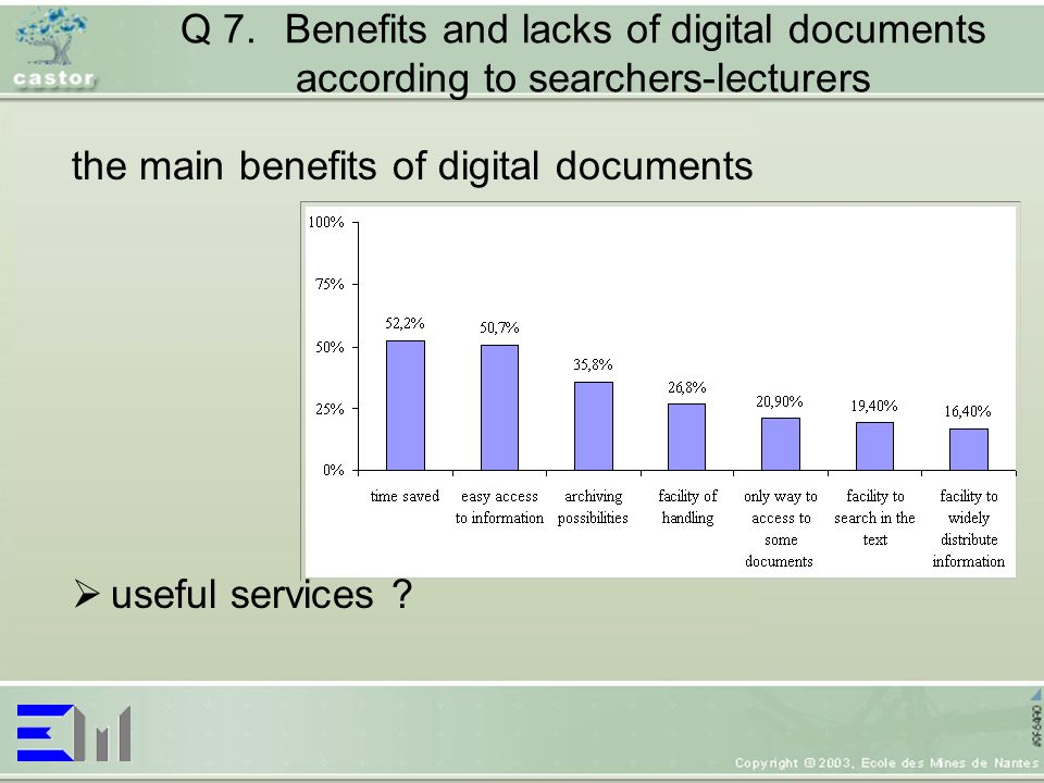 Q 7.Benefits and lacks of digital documents according to searchers-lecturers the main benefits of digital documents useful services
