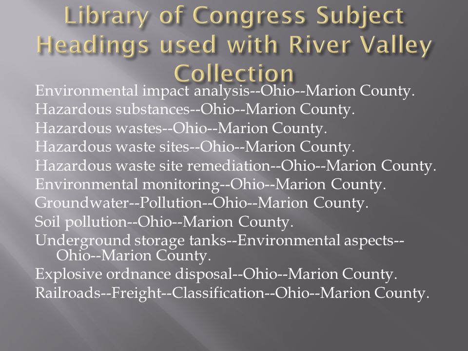 Environmental impact analysis--Ohio--Marion County.