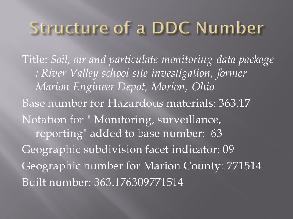 Title: Soil, air and particulate monitoring data package : River Valley school site investigation, former Marion Engineer Depot, Marion, Ohio Base number for Hazardous materials: Notation for Monitoring, surveillance, reporting added to base number: 63 Geographic subdivision facet indicator: 09 Geographic number for Marion County: Built number: