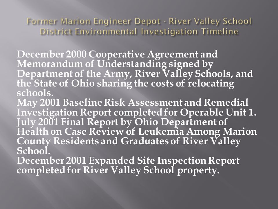 December 2000 Cooperative Agreement and Memorandum of Understanding signed by Department of the Army, River Valley Schools, and the State of Ohio sharing the costs of relocating schools.