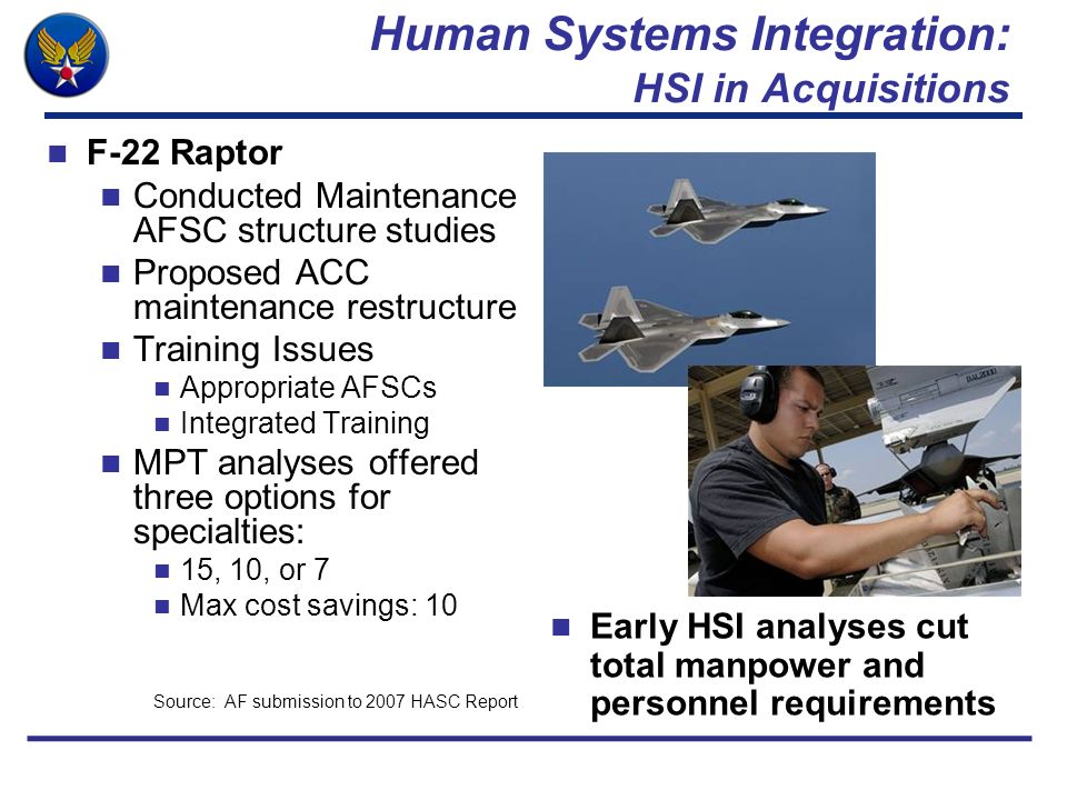 Human Systems Integration: HSI in Acquisitions F-22 Raptor Conducted Maintenance AFSC structure studies Proposed ACC maintenance restructure Training
