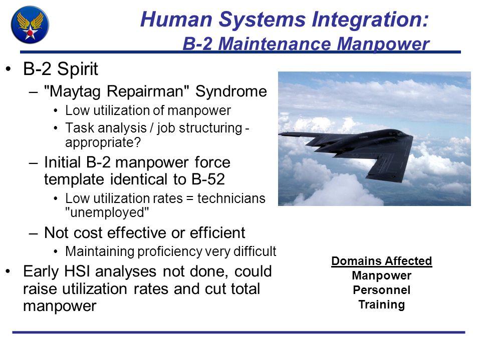 Human Systems Integration: B-2 Maintenance Manpower B-2 Spirit – Maytag Repairman Syndrome Low utilization of manpower Task analysis / job structuring - appropriate.