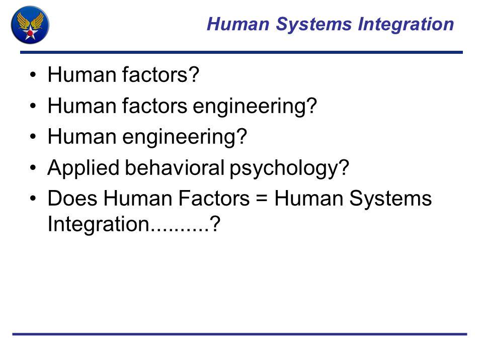 Human Systems Integration Human factors.Human factors engineering.