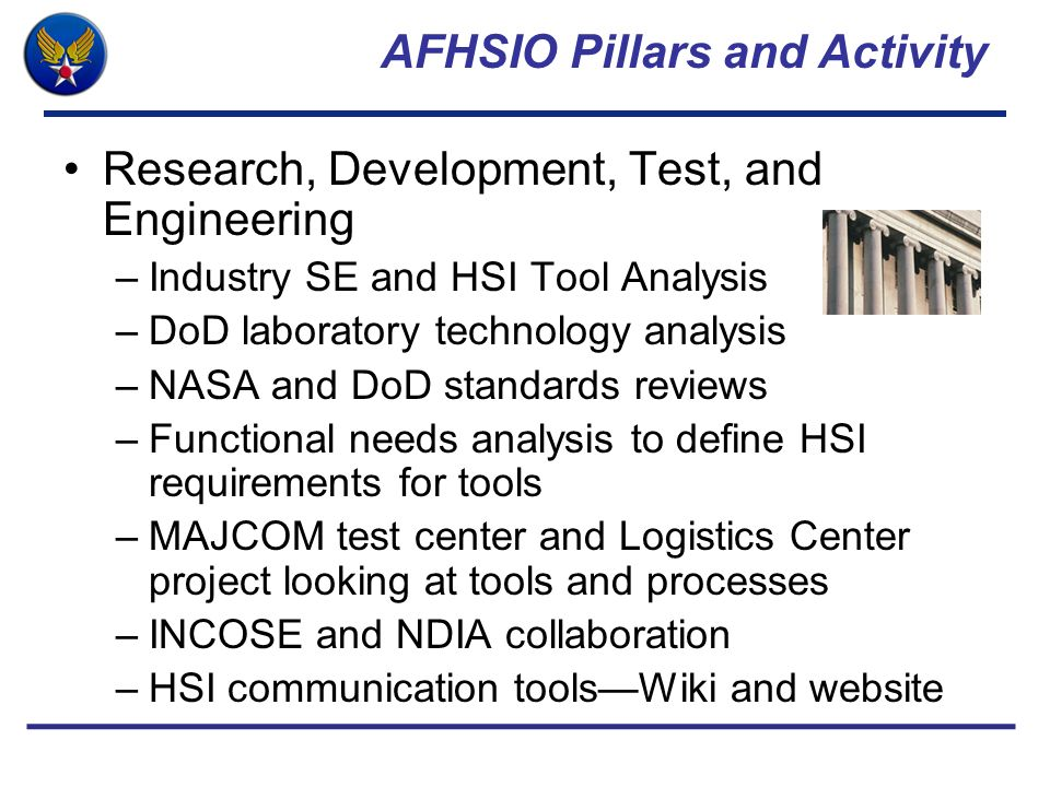 AFHSIO Pillars and Activity Research, Development, Test, and Engineering –Industry SE and HSI Tool Analysis –DoD laboratory technology analysis –NASA