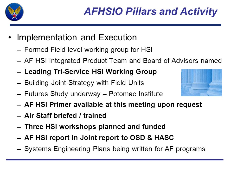 AFHSIO Pillars and Activity Implementation and Execution –Formed Field level working group for HSI –AF HSI Integrated Product Team and Board of Adviso