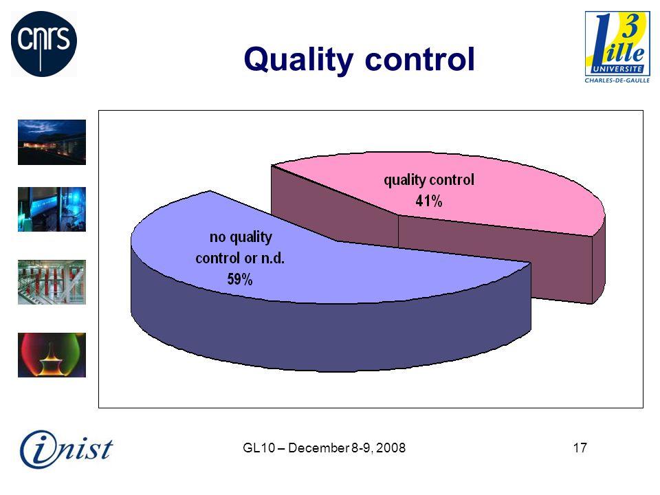 GL10 – December 8-9, 200817 Quality control