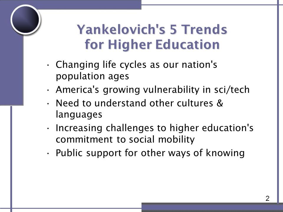 2 Yankelovich's 5 Trends for Higher Education Changing life cycles as our nation's population ages America's growing vulnerability in sci/tech Need to