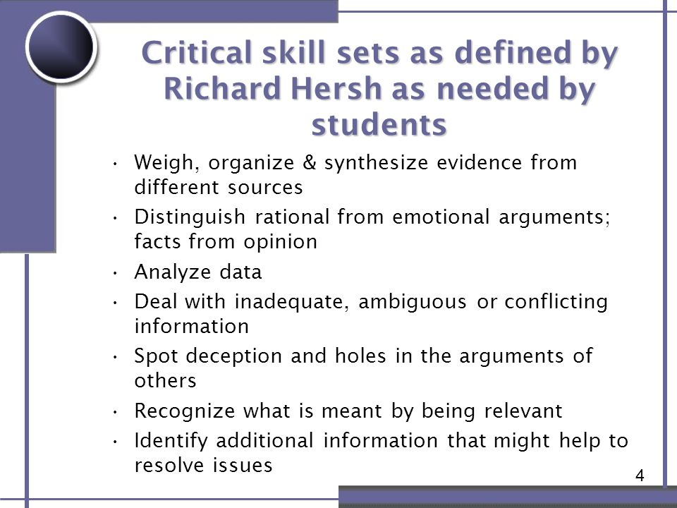 4 Critical skill sets as defined by Richard Hersh as needed by students Weigh, organize & synthesize evidence from different sources Distinguish ratio
