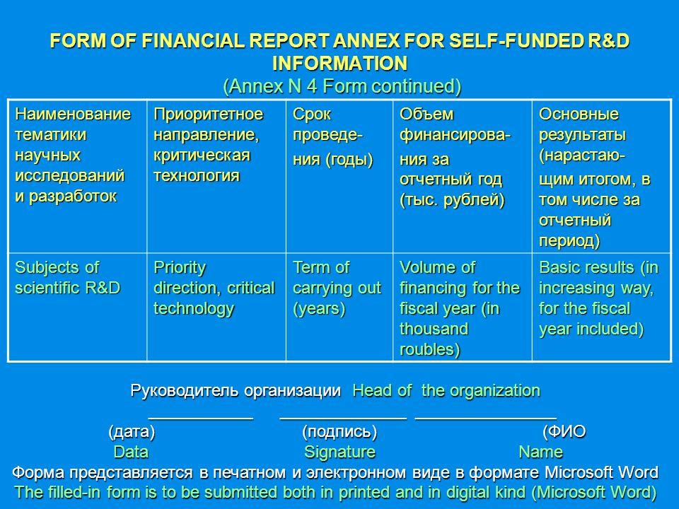 FORM OF FINANCIAL REPORT ANNEX FOR SELF-FUNDED R&D INFORMATION (Annex N 4 Form continued) Наименование тематики научных исследований и разработок Приоритетное направление, критическая технология Срок проведе- ния (годы) Объем финансирова- ния за отчетный год (тыс.