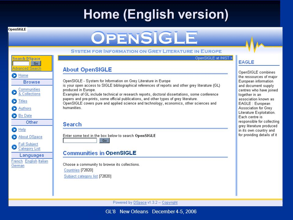 GL8 New Orleans December 4-5, 2006 Home (English version) Home (English version)