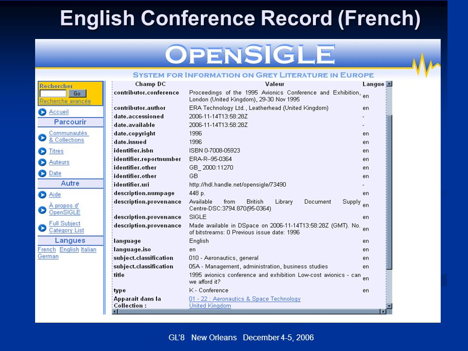 GL8 New Orleans December 4-5, 2006 English Conference Record (French)
