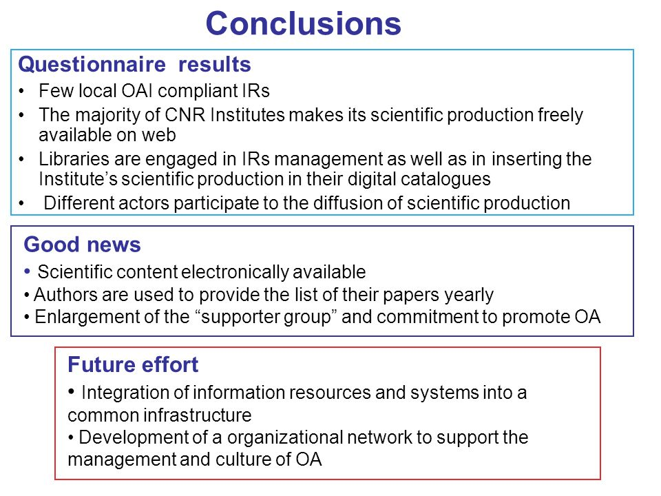 Conclusions Questionnaire results Few local OAI compliant IRs The majority of CNR Institutes makes its scientific production freely available on web Libraries are engaged in IRs management as well as in inserting the Institutes scientific production in their digital catalogues Different actors participate to the diffusion of scientific production Good news Scientific content electronically available Authors are used to provide the list of their papers yearly Enlargement of the supporter group and commitment to promote OA Future effort Integration of information resources and systems into a common infrastructure Development of a organizational network to support the management and culture of OA
