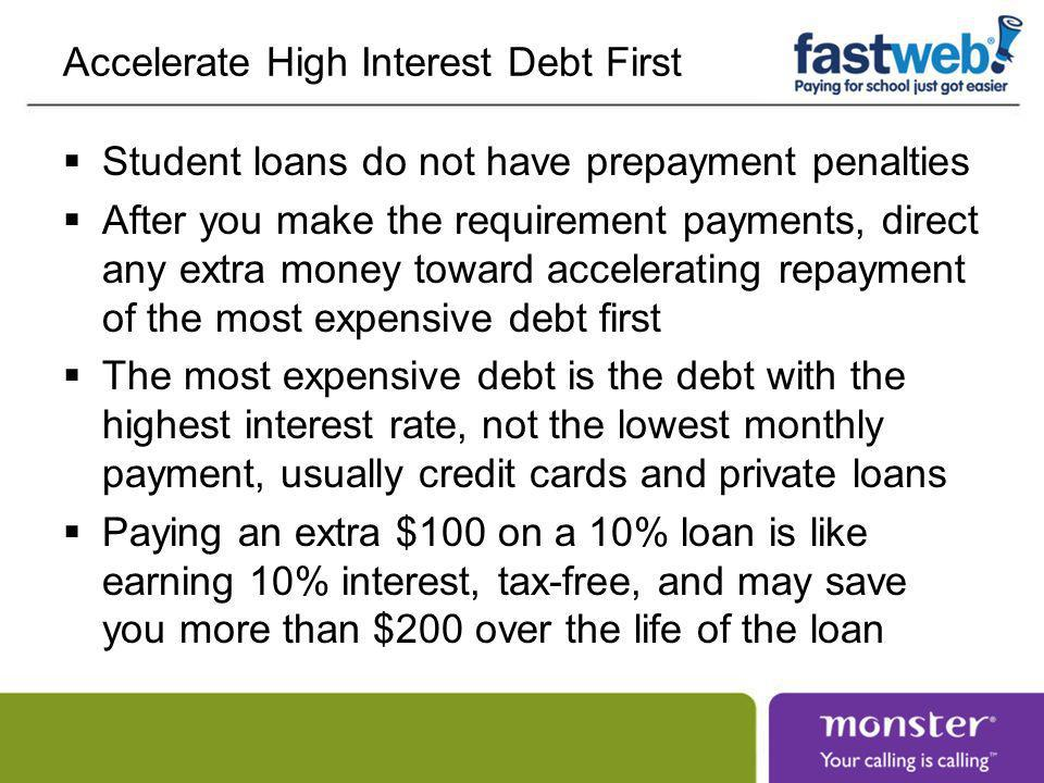 Dealing with Financial Difficulty Use a temporary suspension of loan payments for short-term financial difficulty Economic Hardship Deferment (3 year limit) Forbearances (5 year limit) Change repayment plans for longer-term financial difficulty Income-based repayment reduces the monthly payment based on your discretionary income Extended repayment reduces the monthly payment by increasing the loan term to 12-30 years All of these options increase the cost of the loan