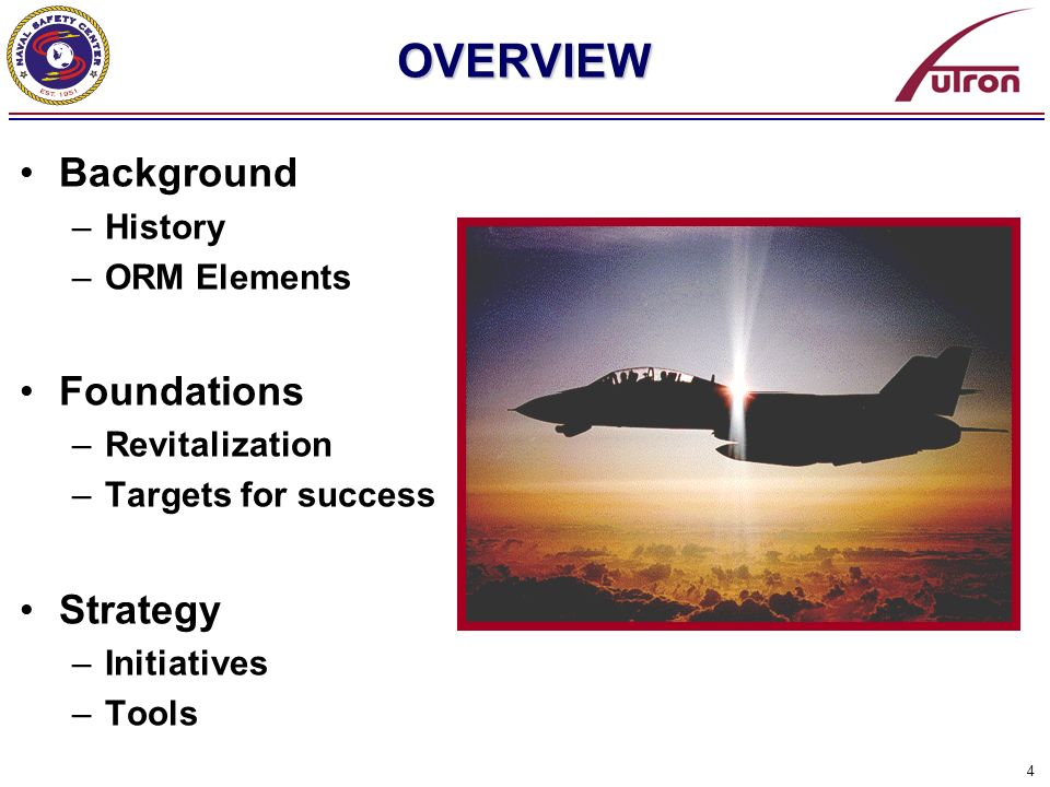4 OVERVIEW Background –History –ORM Elements Foundations –Revitalization –Targets for success Strategy –Initiatives –Tools