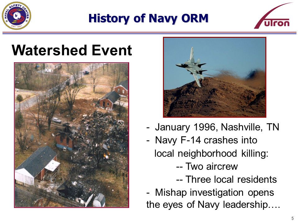 5 Watershed Event - January 1996, Nashville, TN - Navy F-14 crashes into local neighborhood killing: -- Two aircrew -- Three local residents - Mishap