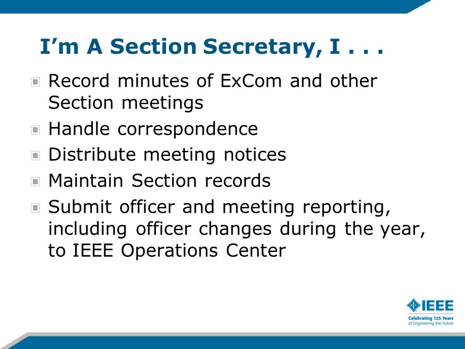 Im A Section Secretary, I...