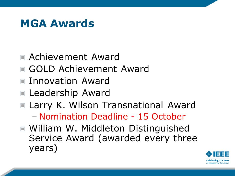 MGA Awards Achievement Award GOLD Achievement Award Innovation Award Leadership Award Larry K.
