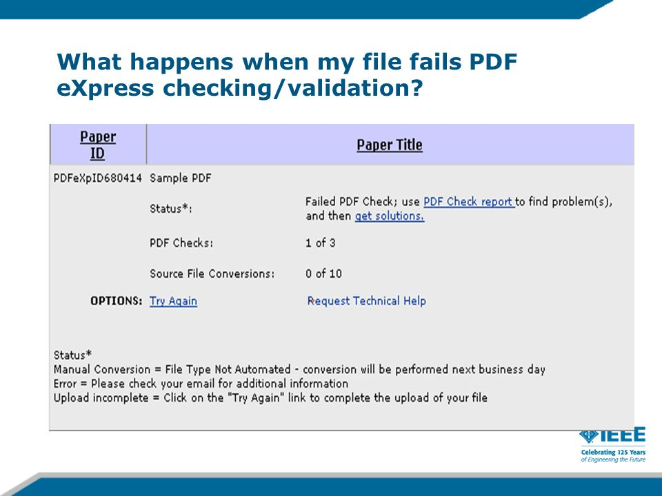 What happens when my file fails PDF eXpress checking/validation?