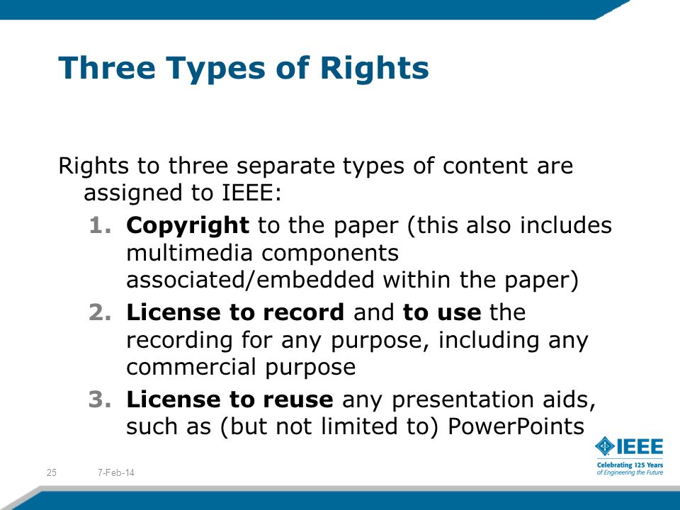 Three Types of Rights Rights to three separate types of content are assigned to IEEE: 1.Copyright to the paper (this also includes multimedia componen