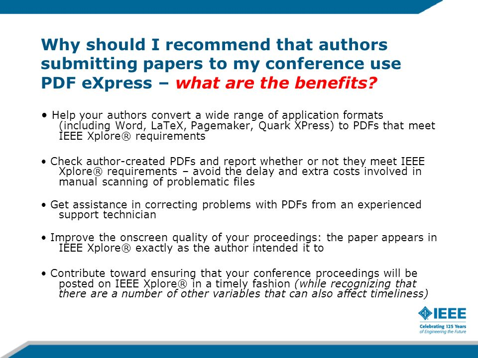 Check Box Opt-Out A simple check box is provided at the end of this new section for authors who do not wish to license these rights [ ] Please check this box if you do not wish to have video/audio recordings made of your conference presentation 7-Feb-1426