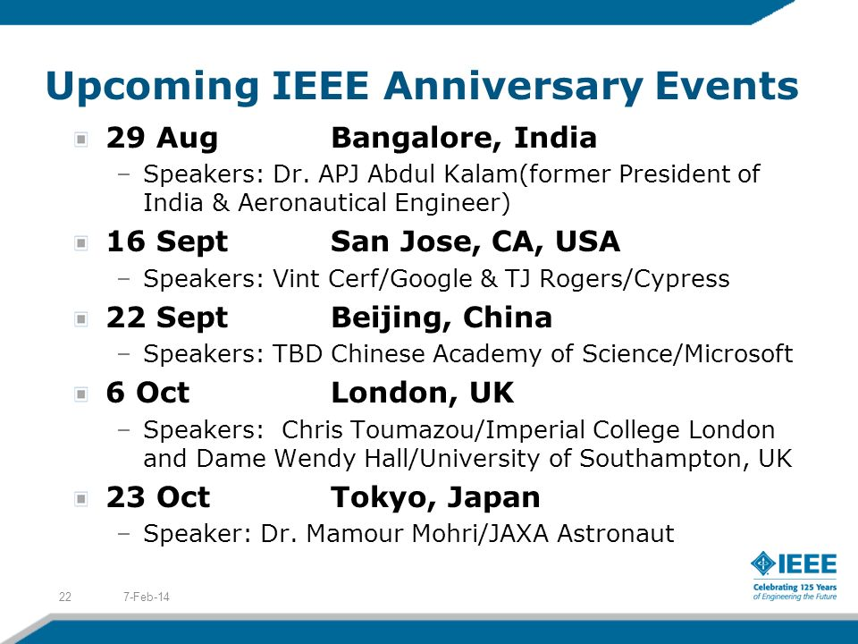 Upcoming IEEE Anniversary Events 29 AugBangalore, India –Speakers: Dr.