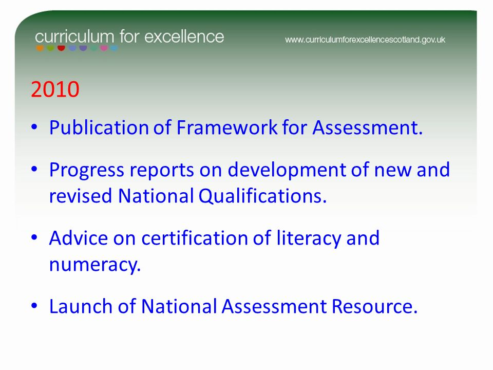 2010 Publication of Framework for Assessment. Progress reports on development of new and revised National Qualifications. Advice on certification of l