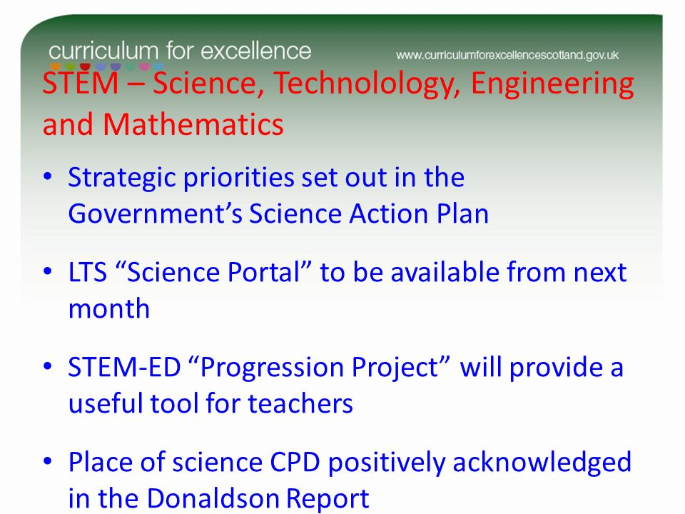 STEM – Science, Technolology, Engineering and Mathematics Strategic priorities set out in the Governments Science Action Plan LTS Science Portal to be