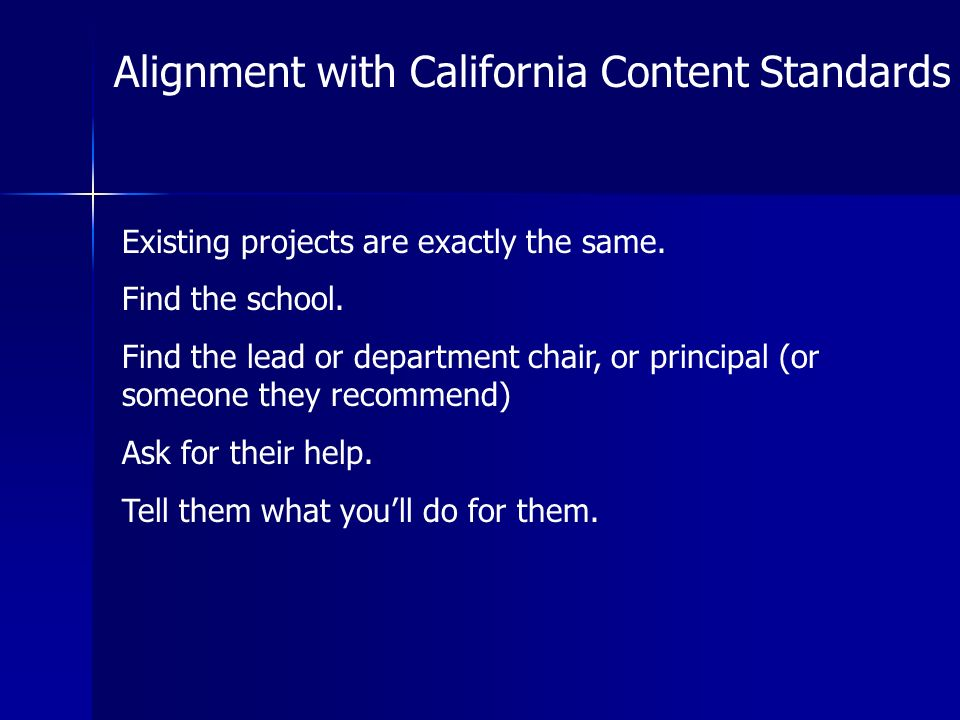 Alignment with California Content Standards Existing projects are exactly the same.