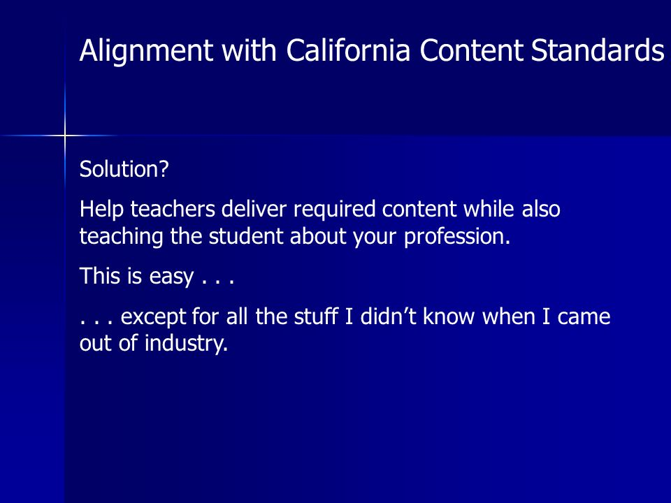 Alignment with California Content Standards Solution.