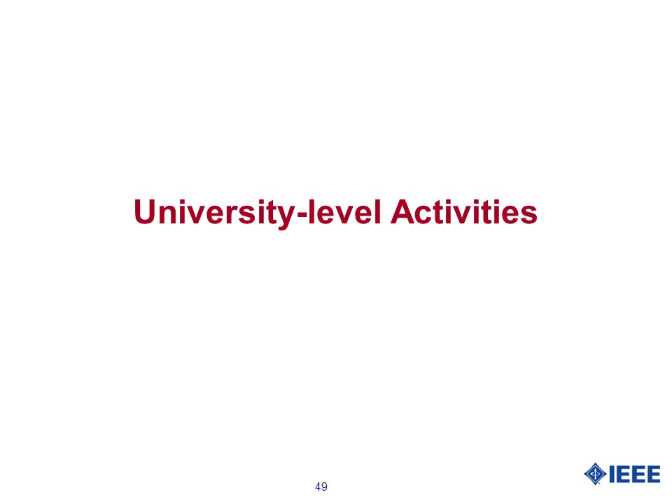 49 University-level Activities