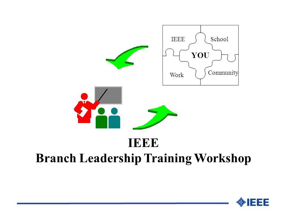 IEEE Branch Leadership Training Workshop IEEESchool YOU Work Community