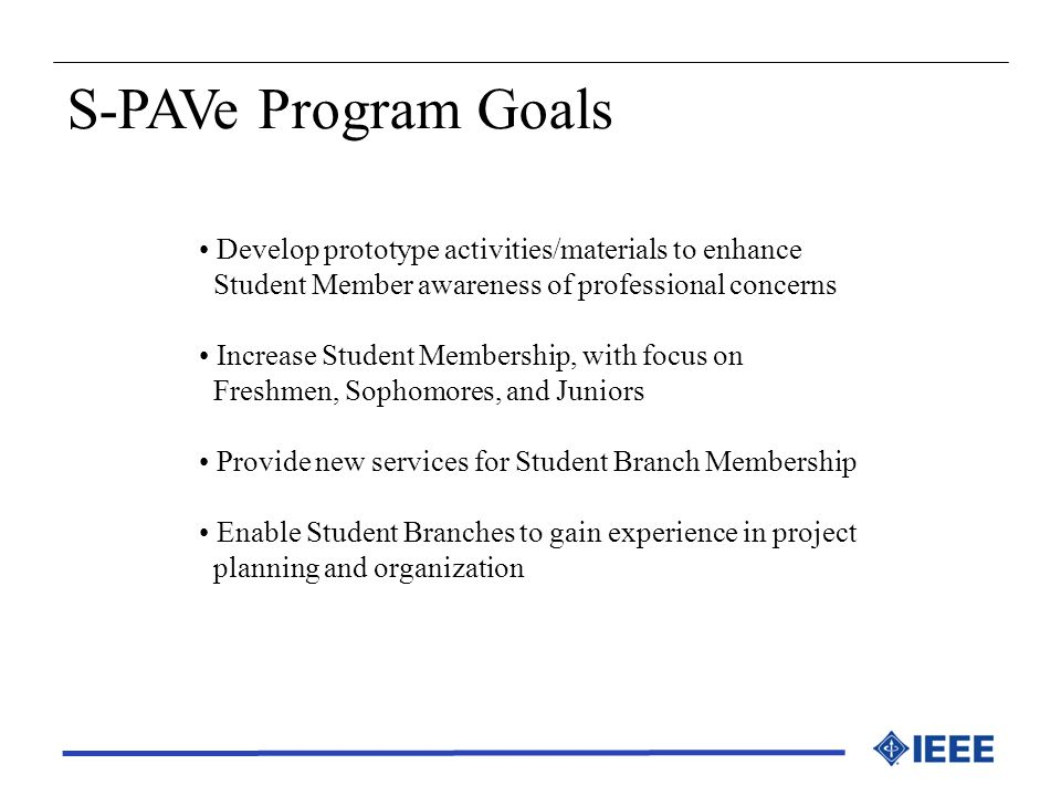 S-PAVe Program Goals Develop prototype activities/materials to enhance Student Member awareness of professional concerns Increase Student Membership,
