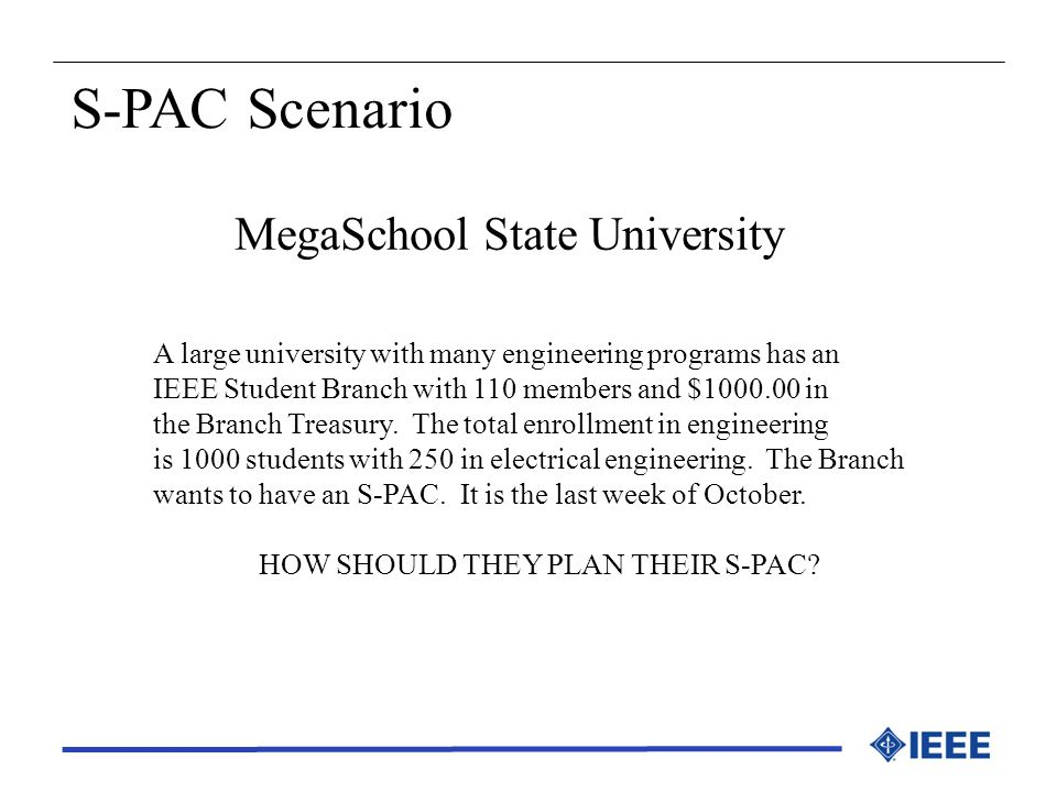 MegaSchool State University A large university with many engineering programs has an IEEE Student Branch with 110 members and $1000.00 in the Branch T