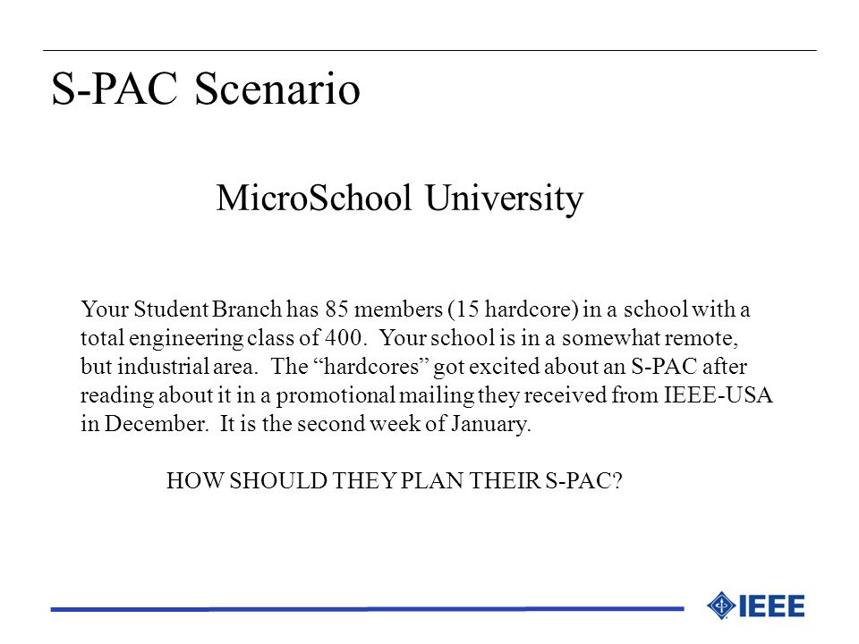 MicroSchool University Your Student Branch has 85 members (15 hardcore) in a school with a total engineering class of 400. Your school is in a somewha
