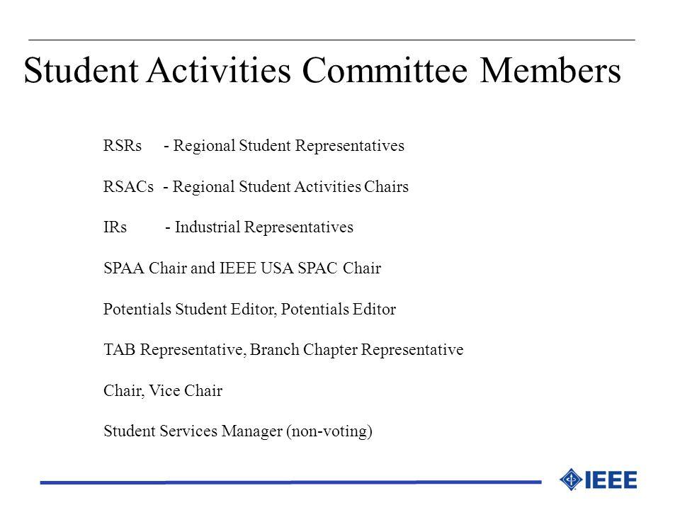Student Activities Committee Members RSRs - Regional Student Representatives RSACs - Regional Student Activities Chairs IRs - Industrial Representativ