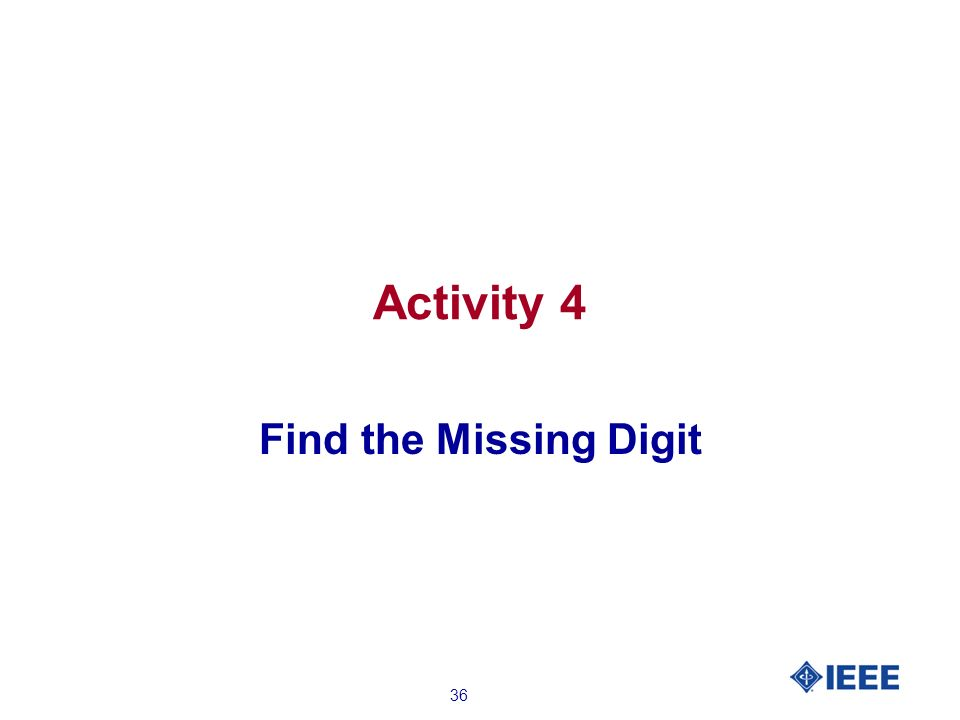 36 Activity 4 Find the Missing Digit
