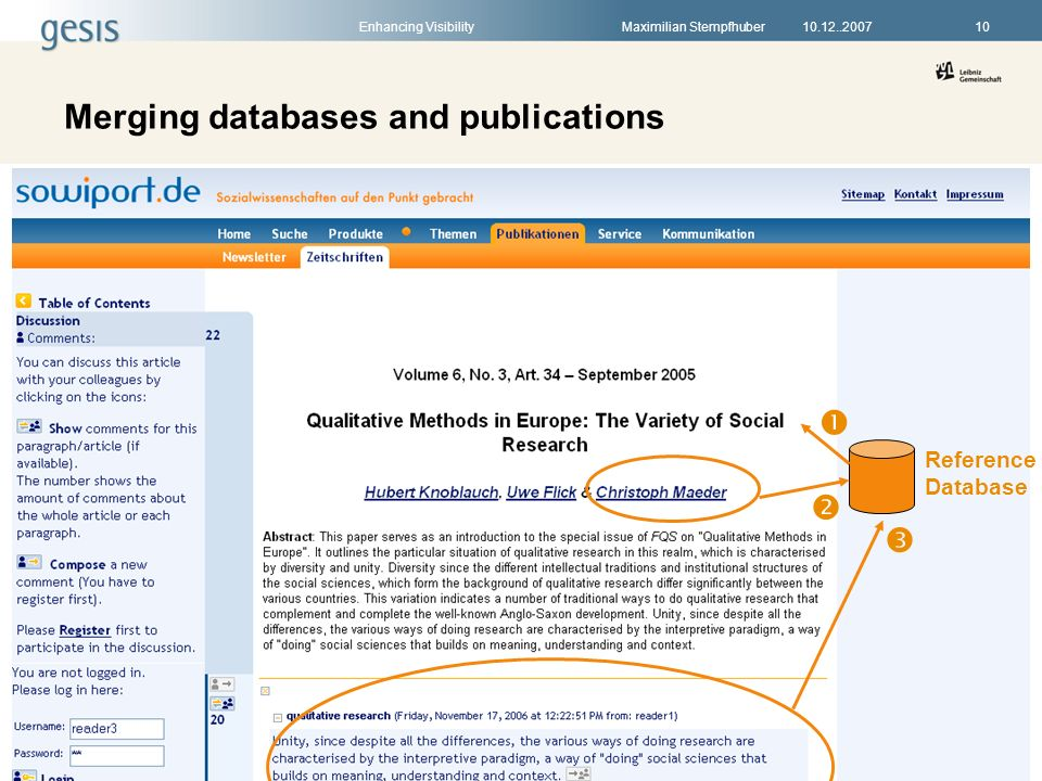 Enhancing VisibilityMaximilian Stempfhuber1010.12..2007 Merging databases and publications Reference Database