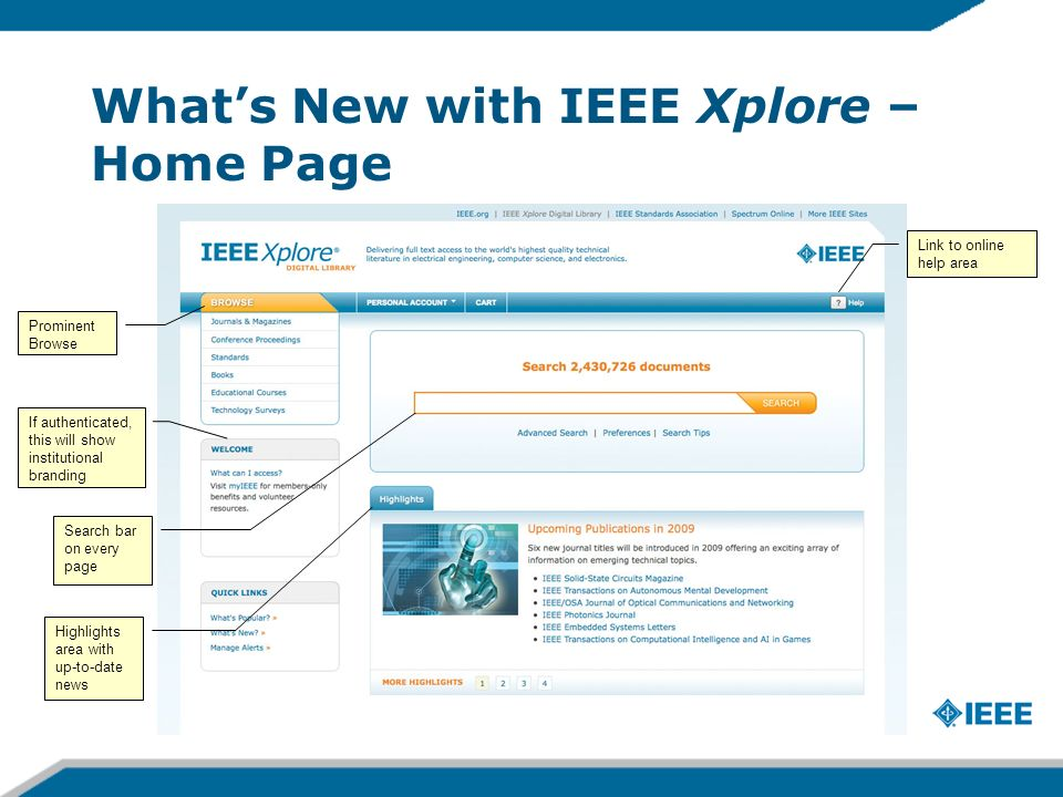 Whats New with IEEE Xplore – Home Page Prominent Browse Search bar on every page Highlights area with up-to-date news If authenticated, this will show institutional branding Link to online help area