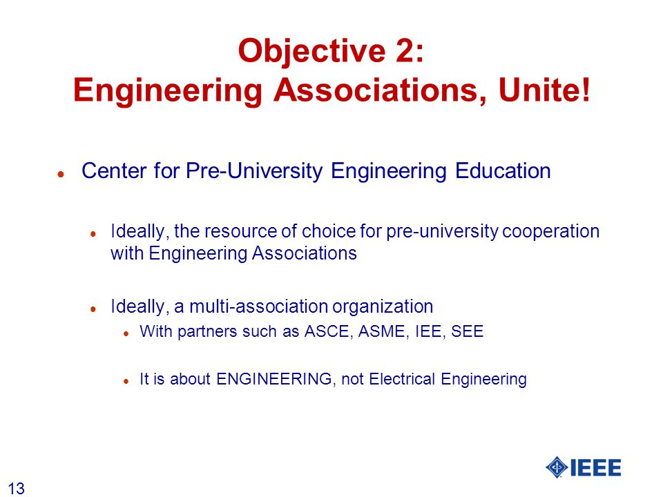 13 Objective 2: Engineering Associations, Unite! l Center for Pre-University Engineering Education l Ideally, the resource of choice for pre-universit