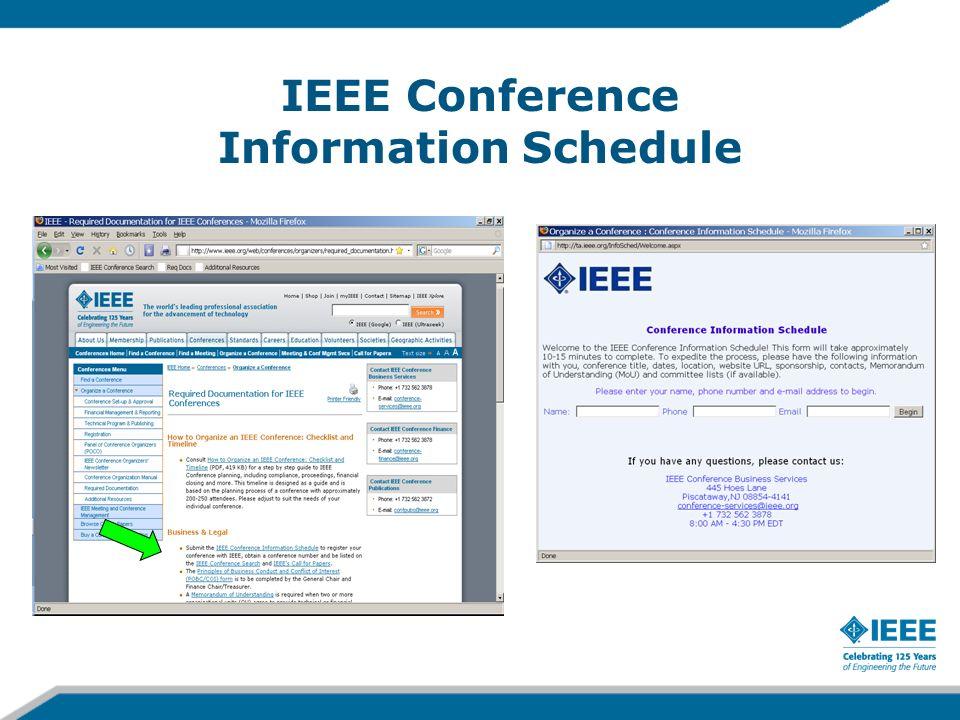 IEEE Conference Information Schedule