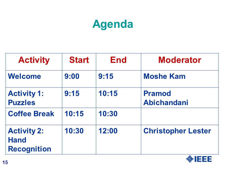 15 ActivityStartEndModerator Welcome9:009:15Moshe Kam Activity 1: Puzzles 9:1510:15Pramod Abichandani Coffee Break10:1510:30 Activity 2: Hand Recognit