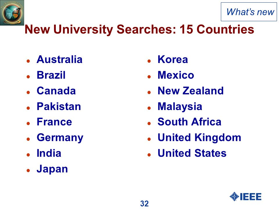 32 New University Searches: 15 Countries l Australia l Brazil l Canada l Pakistan l France l Germany l India l Japan l Korea l Mexico l New Zealand l Malaysia l South Africa l United Kingdom l United States Whats new